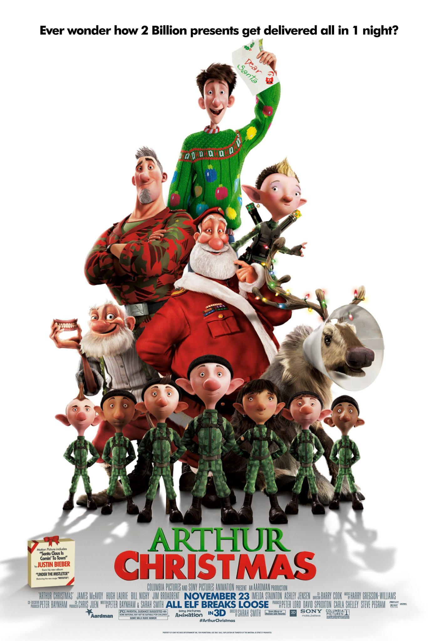 The poster for Arthur Christmas, 2011.
