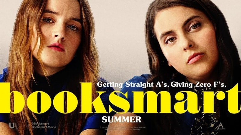 Booksmart movie poster with the two main characters (Molly and and Amy) looking straight forward.