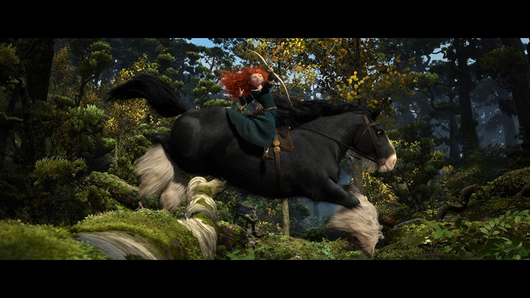 Merida riding Angus across the Glen