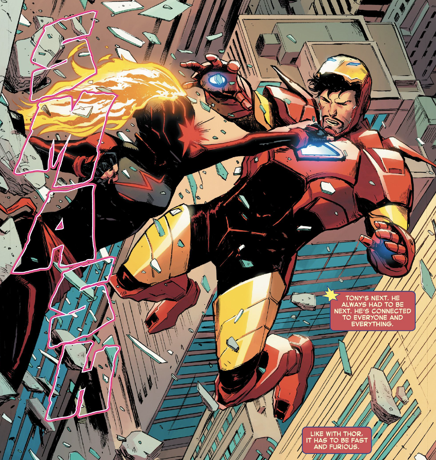 Carol Danvers (Captain Marvel) punches Tony Stark and they fall out of a building in Captain Marvel #13