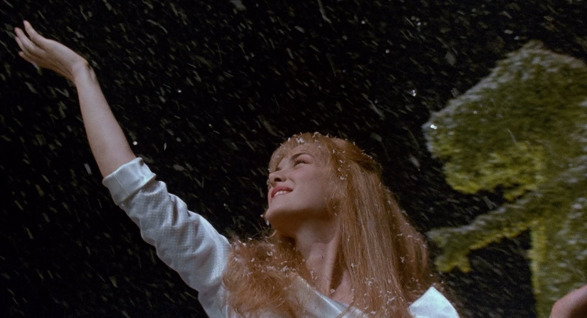 Wynona Ryder reaches out to the snow created by Edward Scissorhands in this non-traditional Christmas movie.