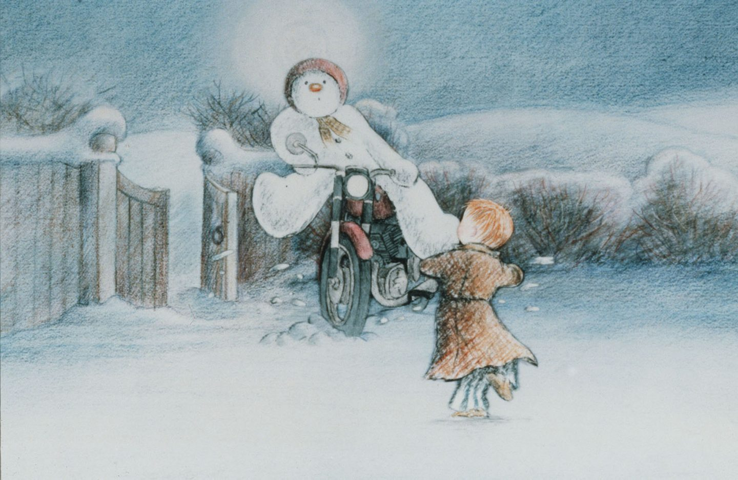 Snowman on a motorcycle. From The Snowman (1982).