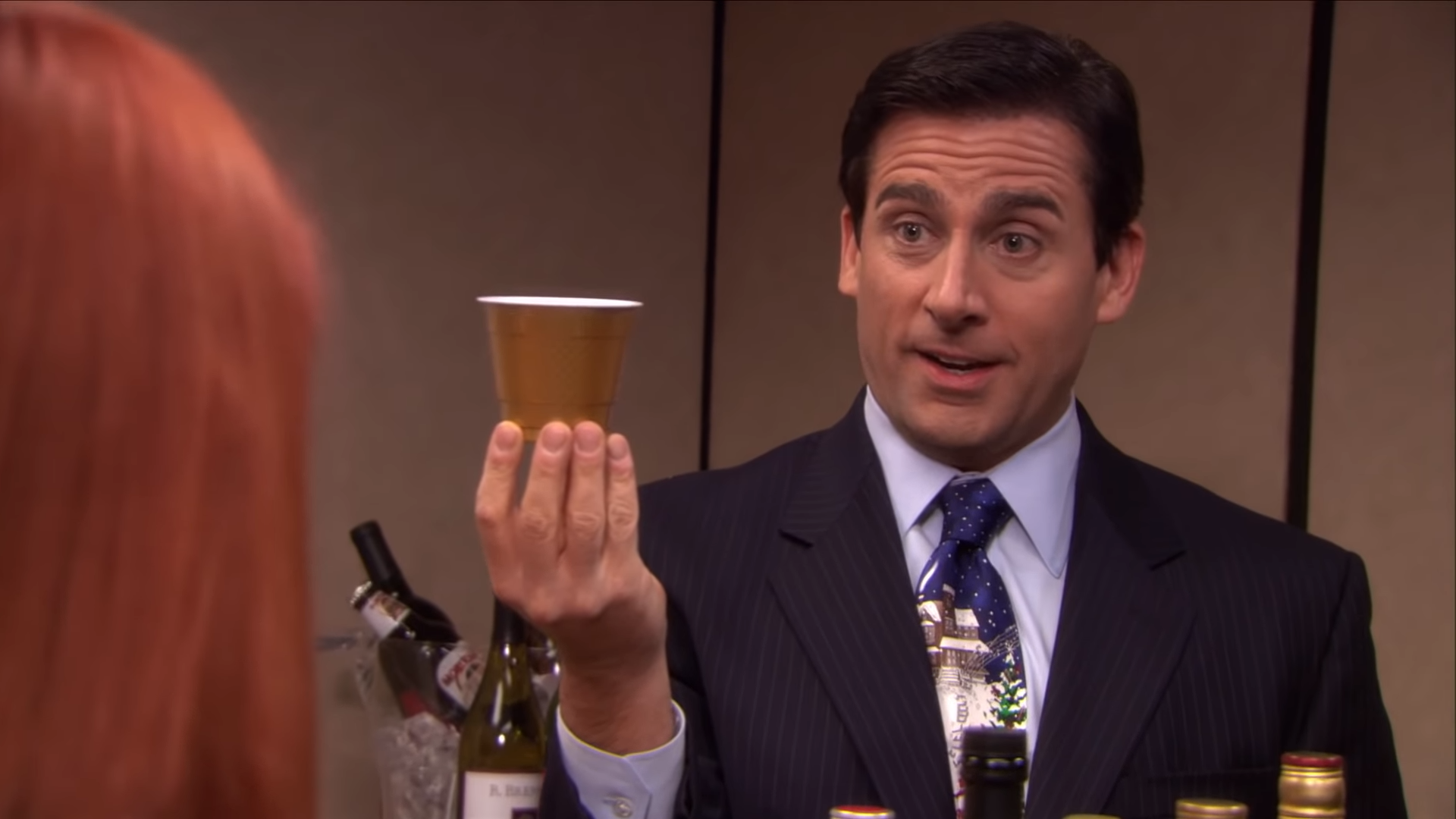 Michael Scott making a drink called One of Everything.