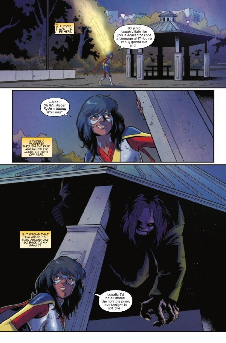 The Magnificent Ms Marvel #10: Page 5, Kamala searches for Hyde who is hiding under a gazebo.