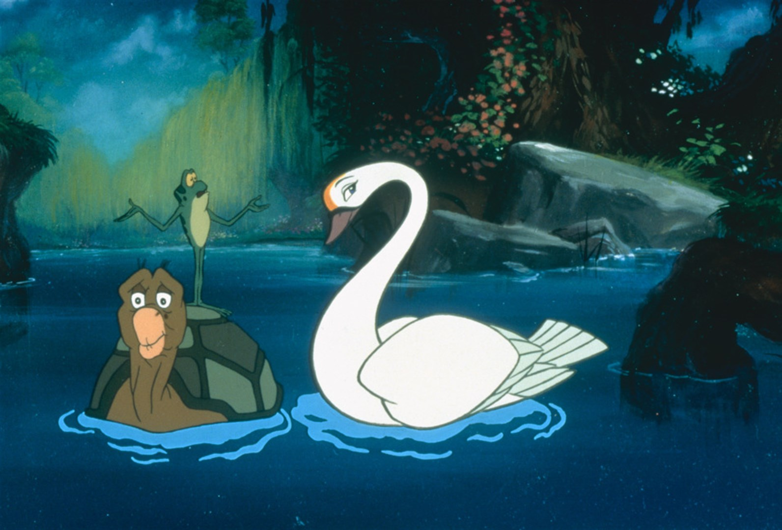 Odette as a swan, with her animal sidekicks.