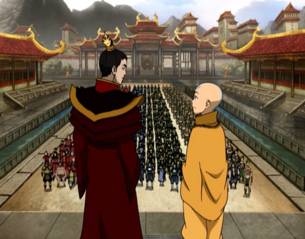 Fire Lord and Aang at his coronation.