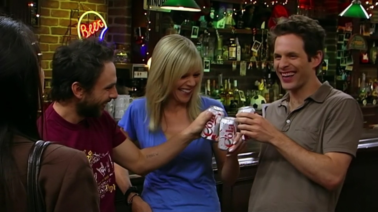 """A New Year:"" Charlie, Dee, and Dennis all drinking wine in a can. A potentially timeless drink for any New Years party."