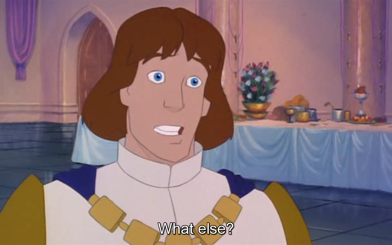 """Derek, the prince from """"The Swan Princess,""""  being perplexed over something Odette said."""