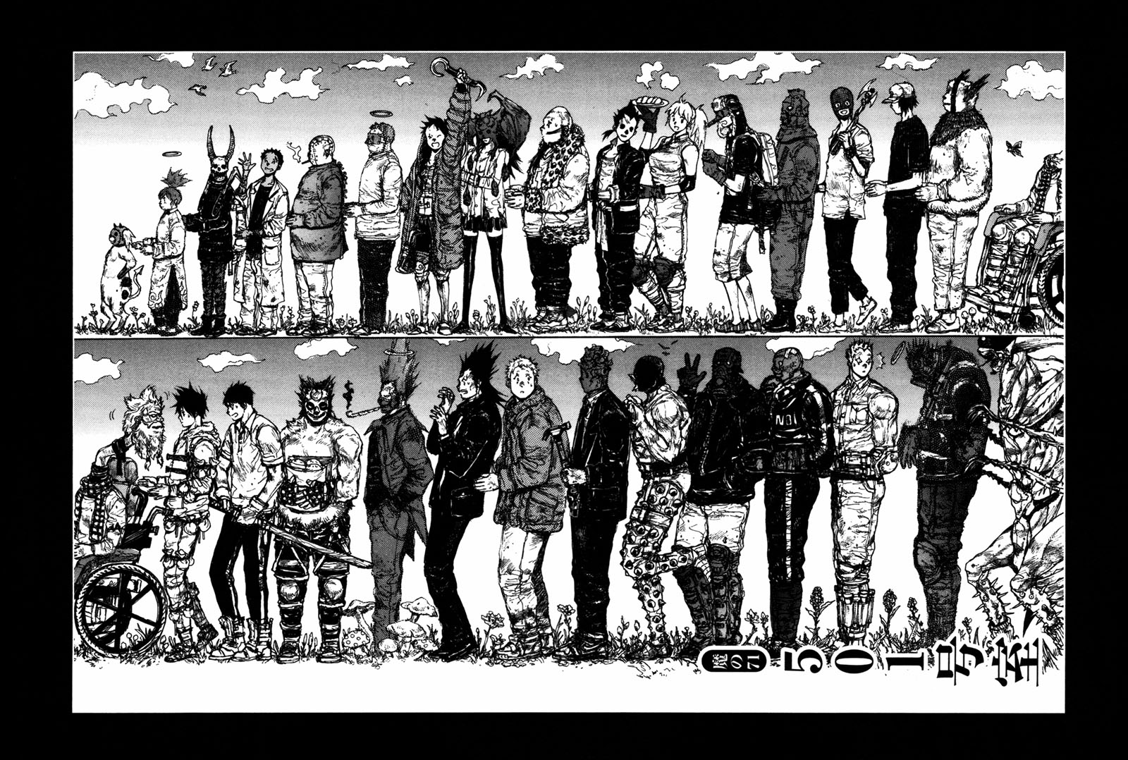 The cast of Dorohedoro line up in order of size for the cover page of one of the chapters.
