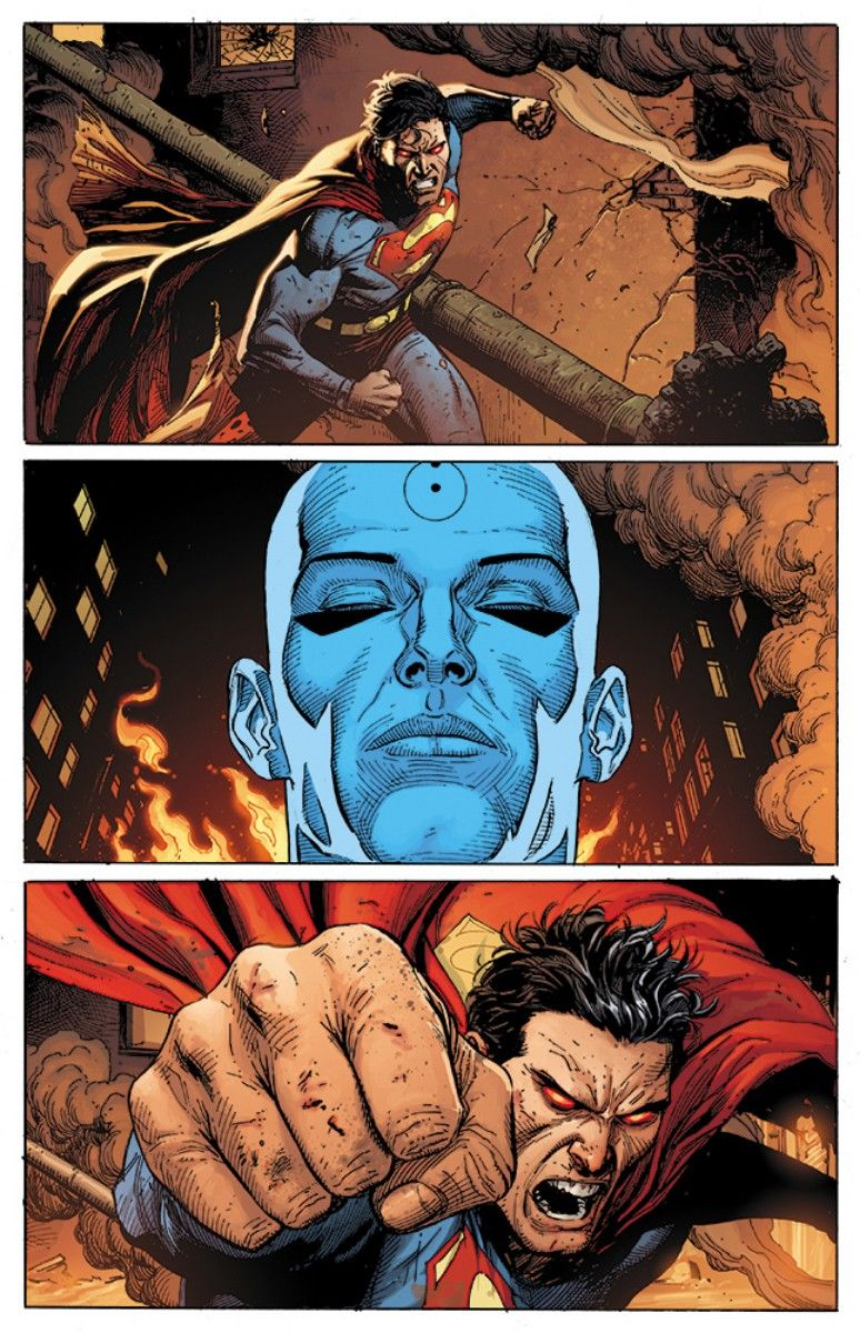 Doomsday Clock #12, Page #17: Superman charges at Dr. Manhattan