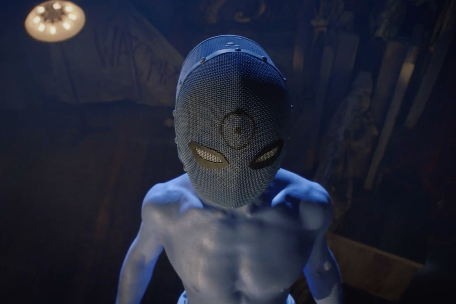 "The reveal of Dr. Manhattan in the play ""the Watchmen's son."""