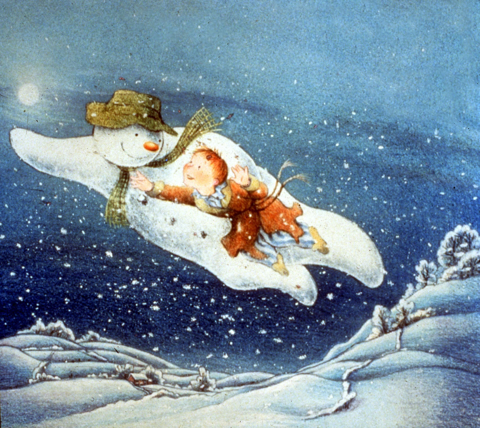 Snowman and boy flying together at night. From The Snowman (1982).