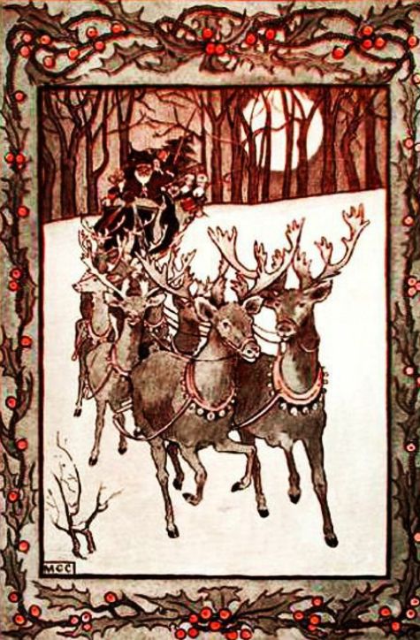 "Santa Claus rides out with his reindeer in ""The Life and Adventures of Santa Claus."""