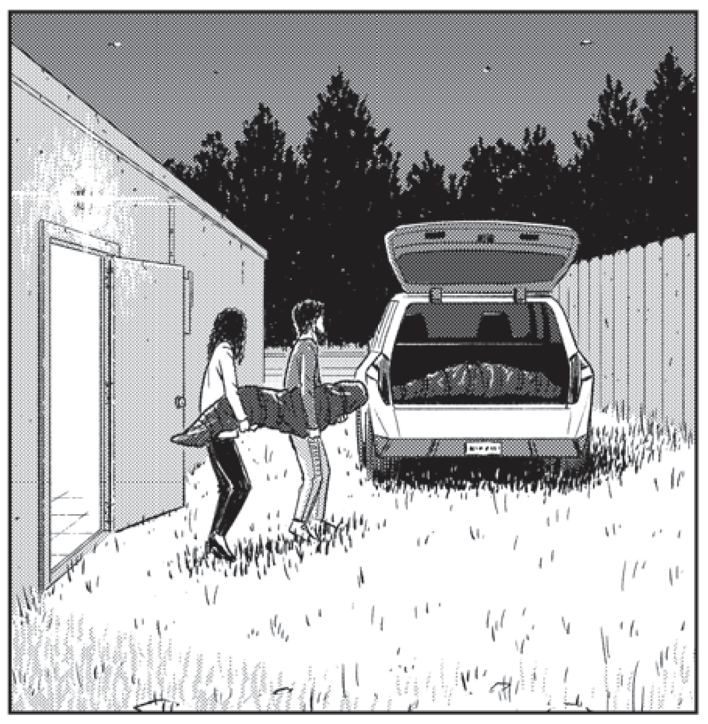 Lucas and Mer carry a body to the car in 20XX #2