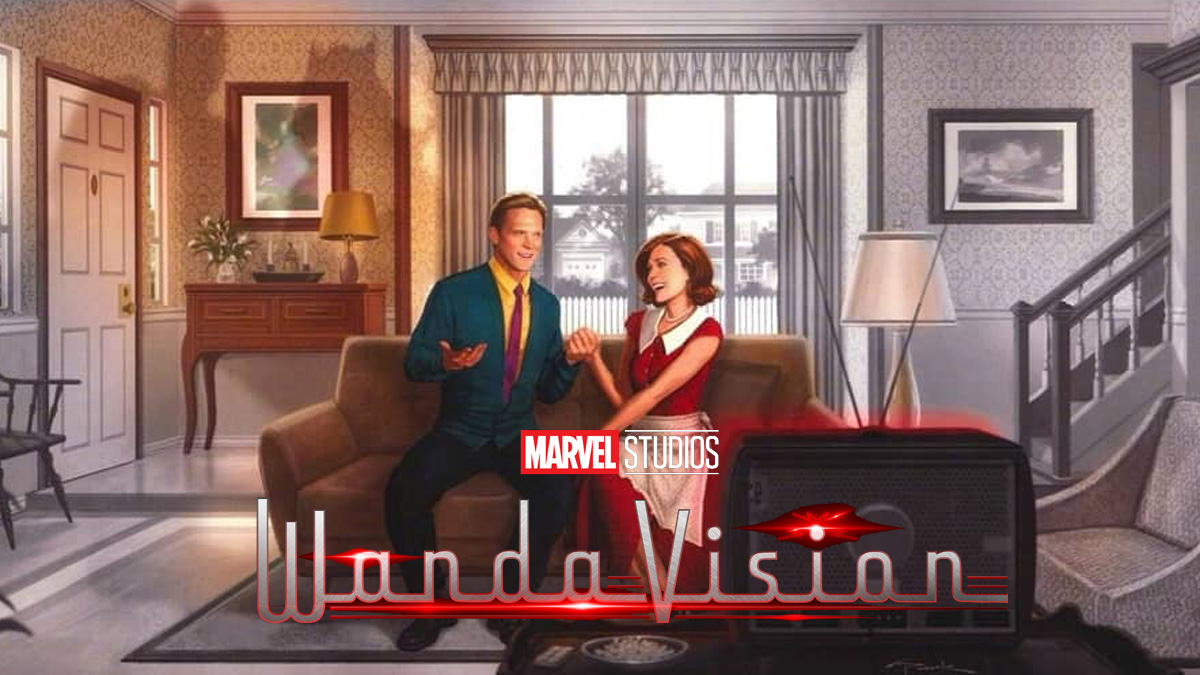 Marvel Phase 4: WandaVision: Wanda and a human Vision enjoy a moment of domestic bliss inside their picturesque 1950s home.