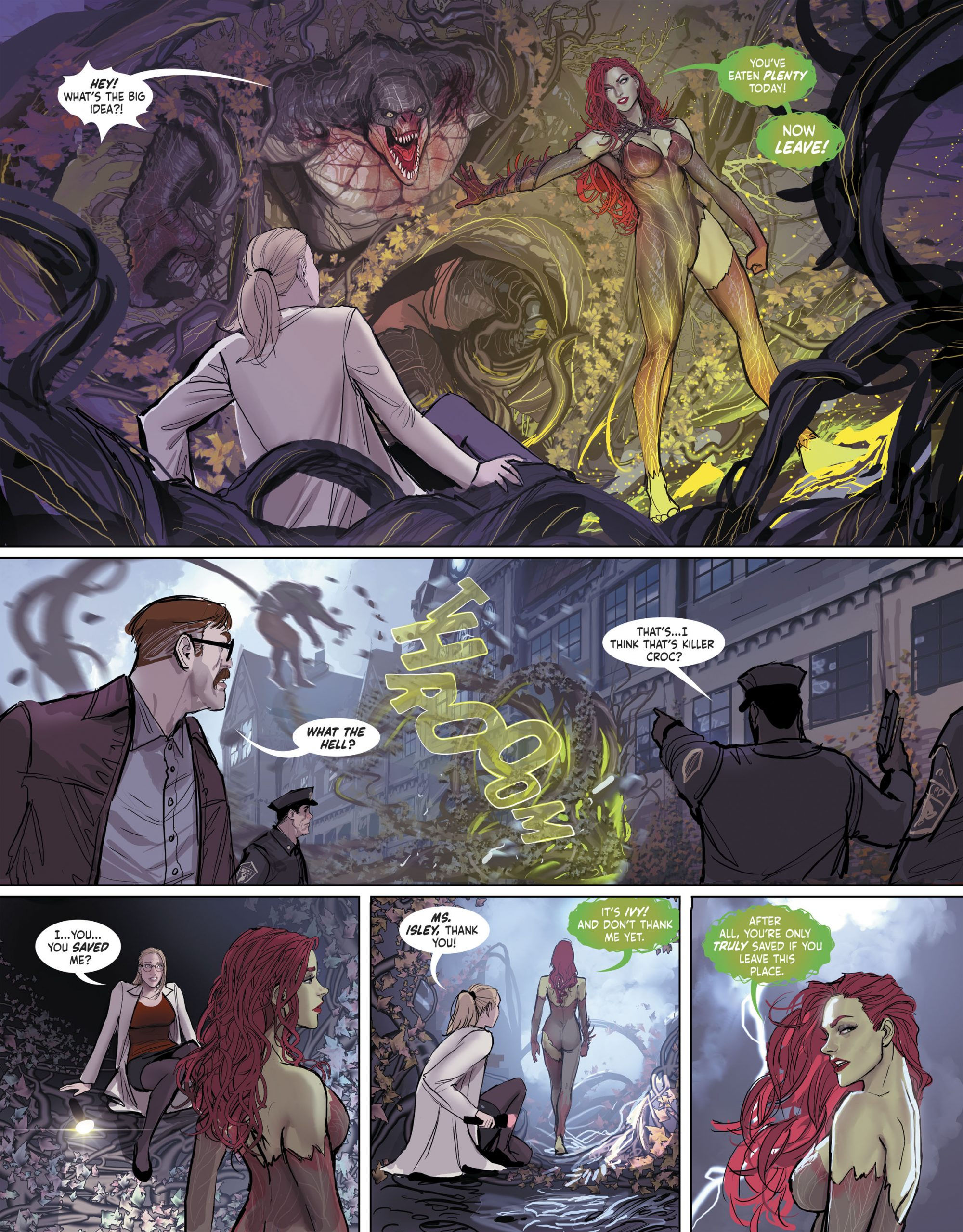 Poison Ivy saving Harleen in Arkham.