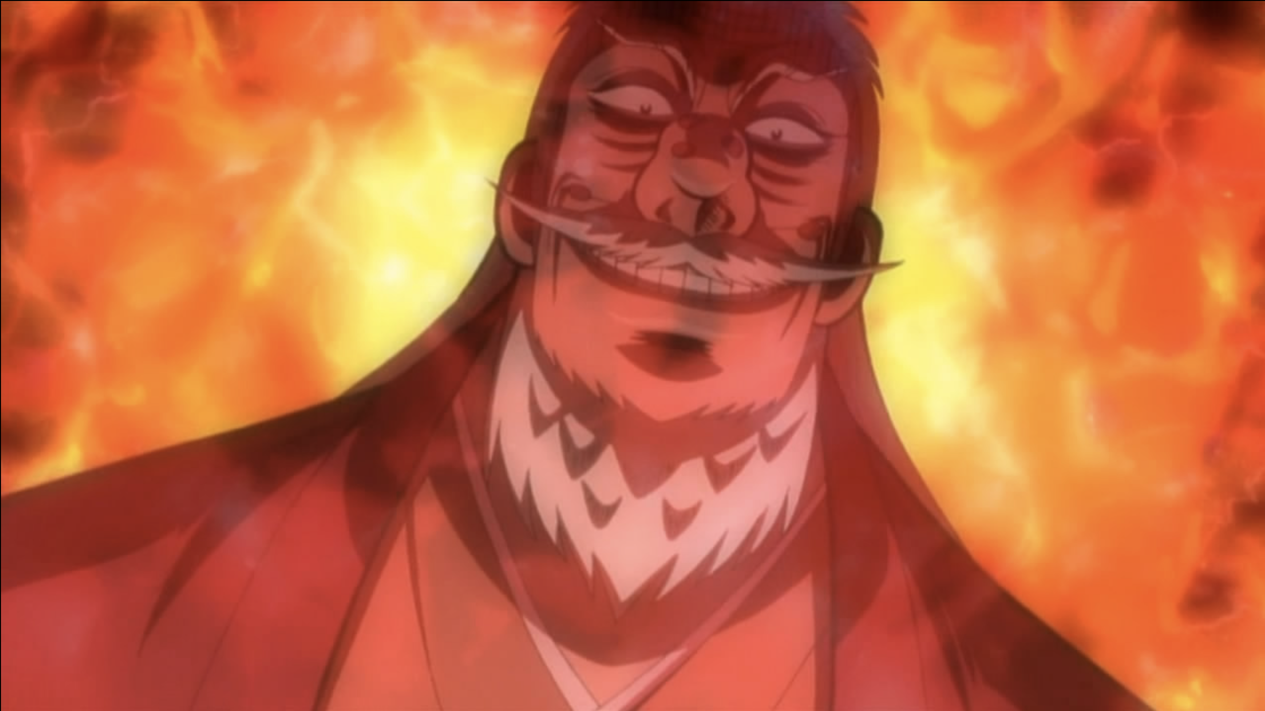 Hyōdō grinning sinisterly, depicted with fire around him.