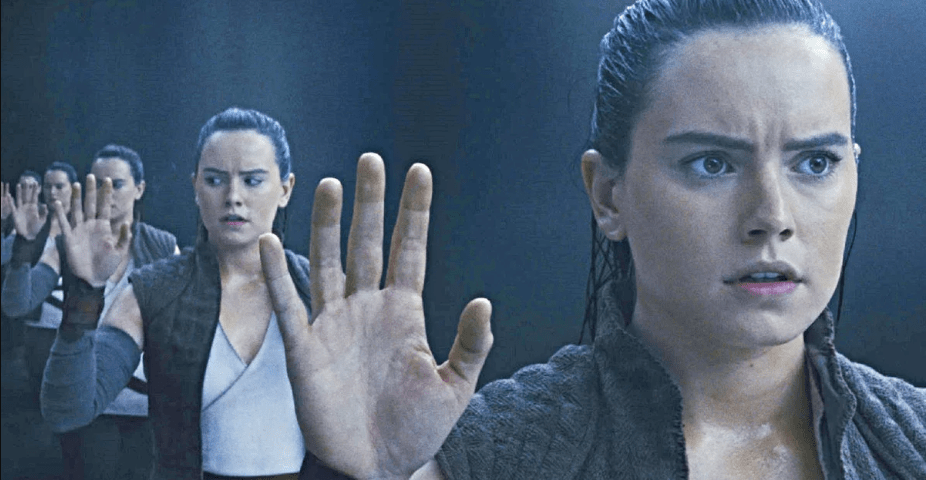 In The Last Jedi, Rey begs to see her parents in a cave surrounded by darkness and is instead shown herself.