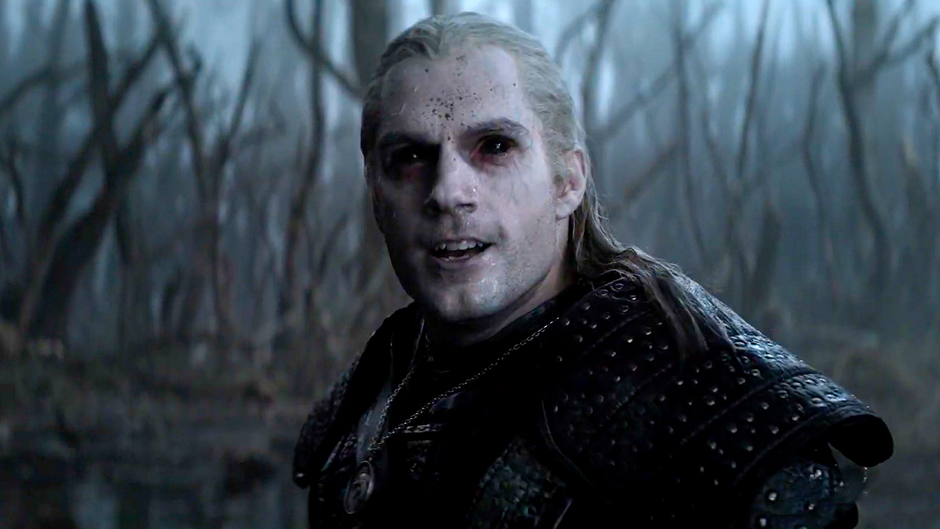 The Witcher, Geralt of Rivia, after fighting a monster.
