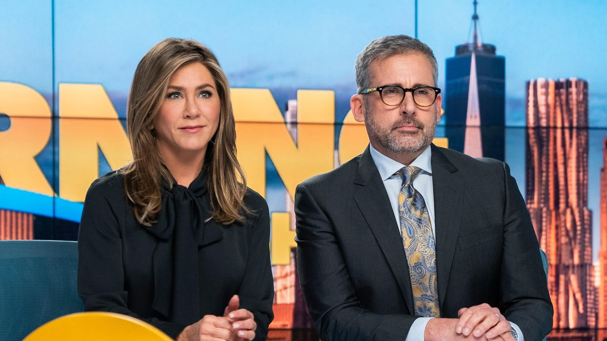 Jennifer Aniston and Steve Carell as co-hosts on The Morning Show.