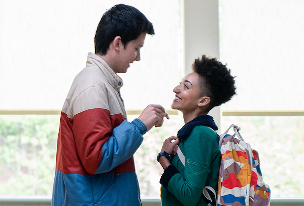 Otis and Ola look at each other lovingly as they begin their new relationship in Sex Education season two.