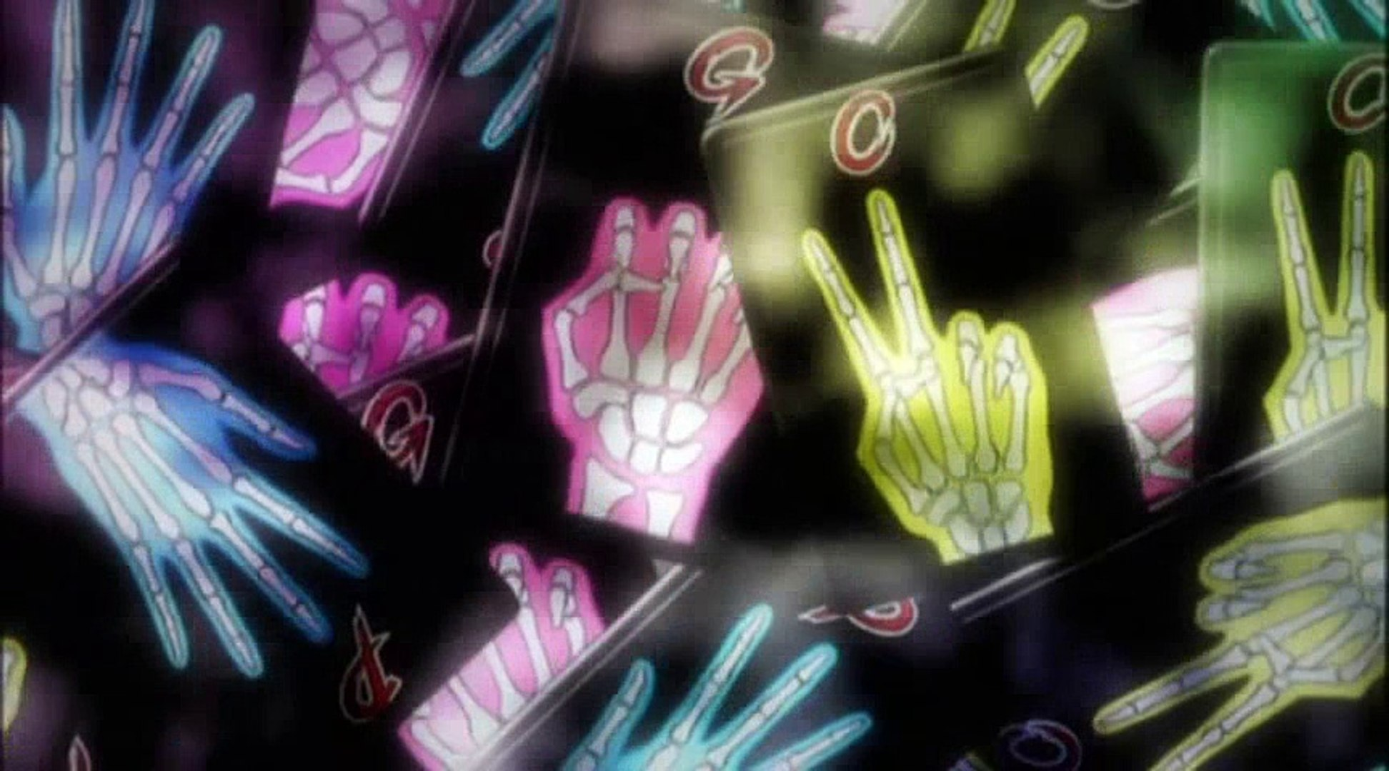 The Rock, Paper, Scissor cards that the characters use to gamble with.  The cards have skeletal hands printed on them in different positions to stand for the rock, paper, or scissors.