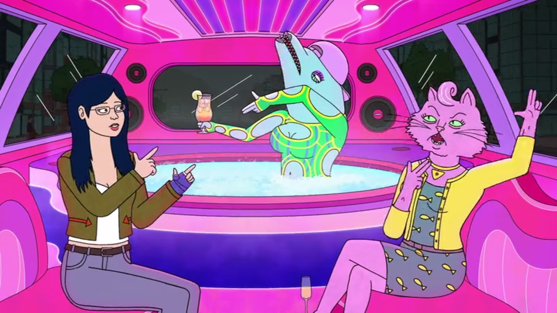 Sextina Aquafina in a limo hot tub with Diane and Princess Carolyn in the limo.