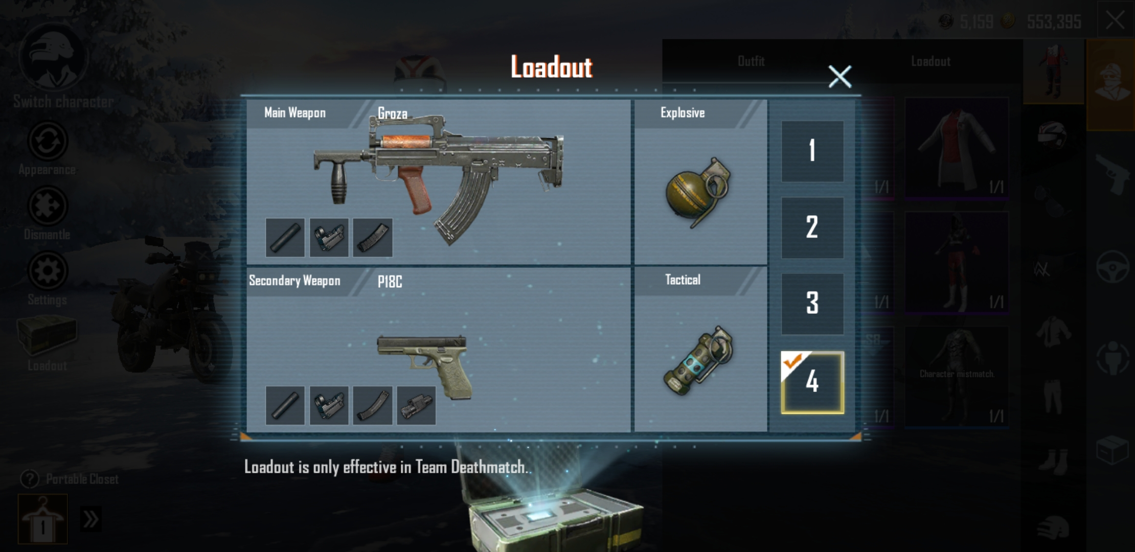 PUBG Mobile's loadout features a main weapon, secondary weapon, explosive, and tactical.