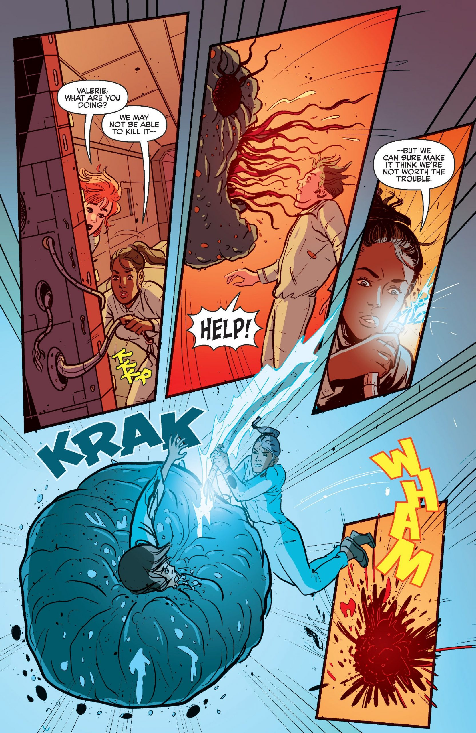 Valerie's bright idea to stop the alien before he kills again in Josie and the Pussycats in Space #3.