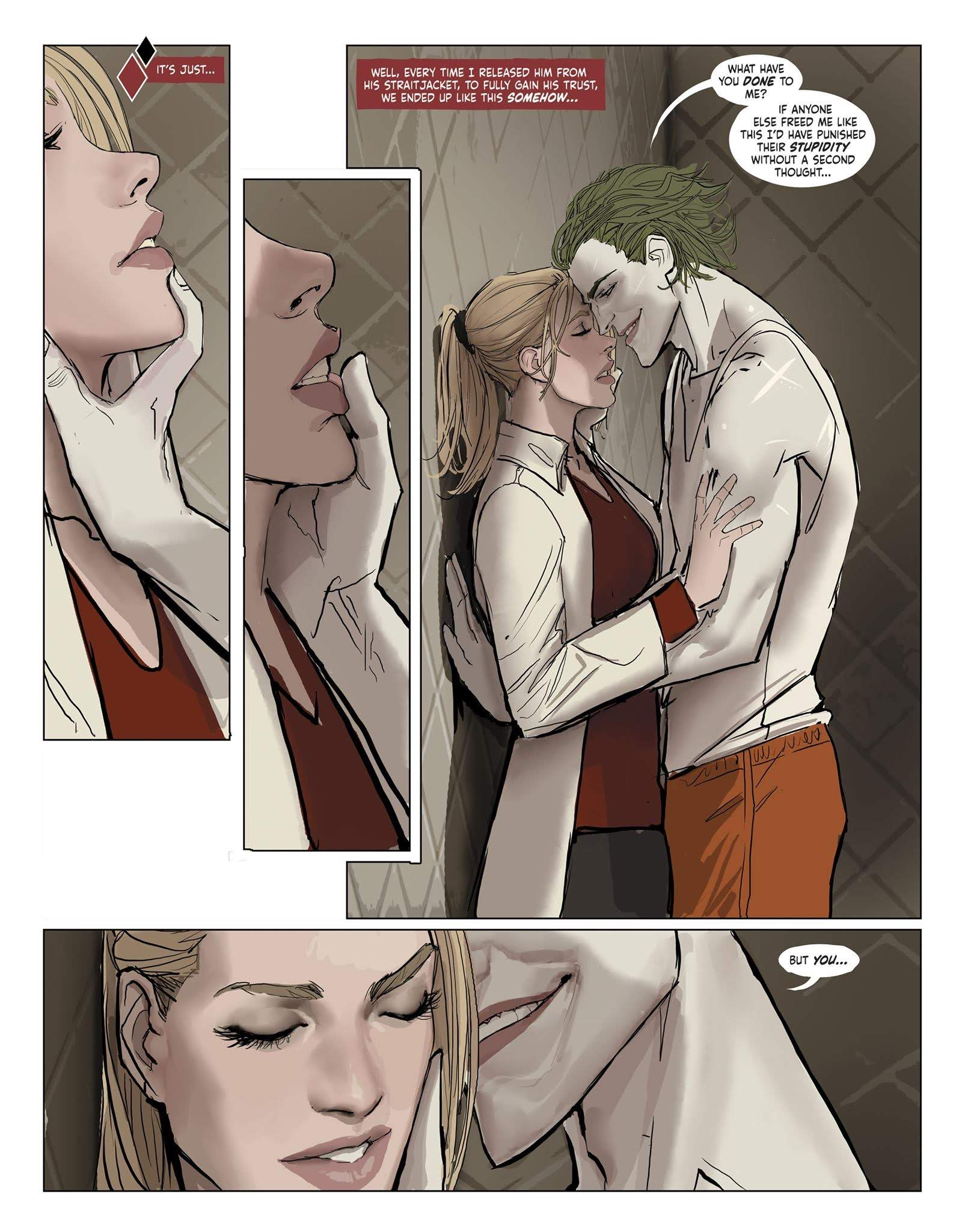 A passionate moment between Joker and Harleen in Harleen #3.