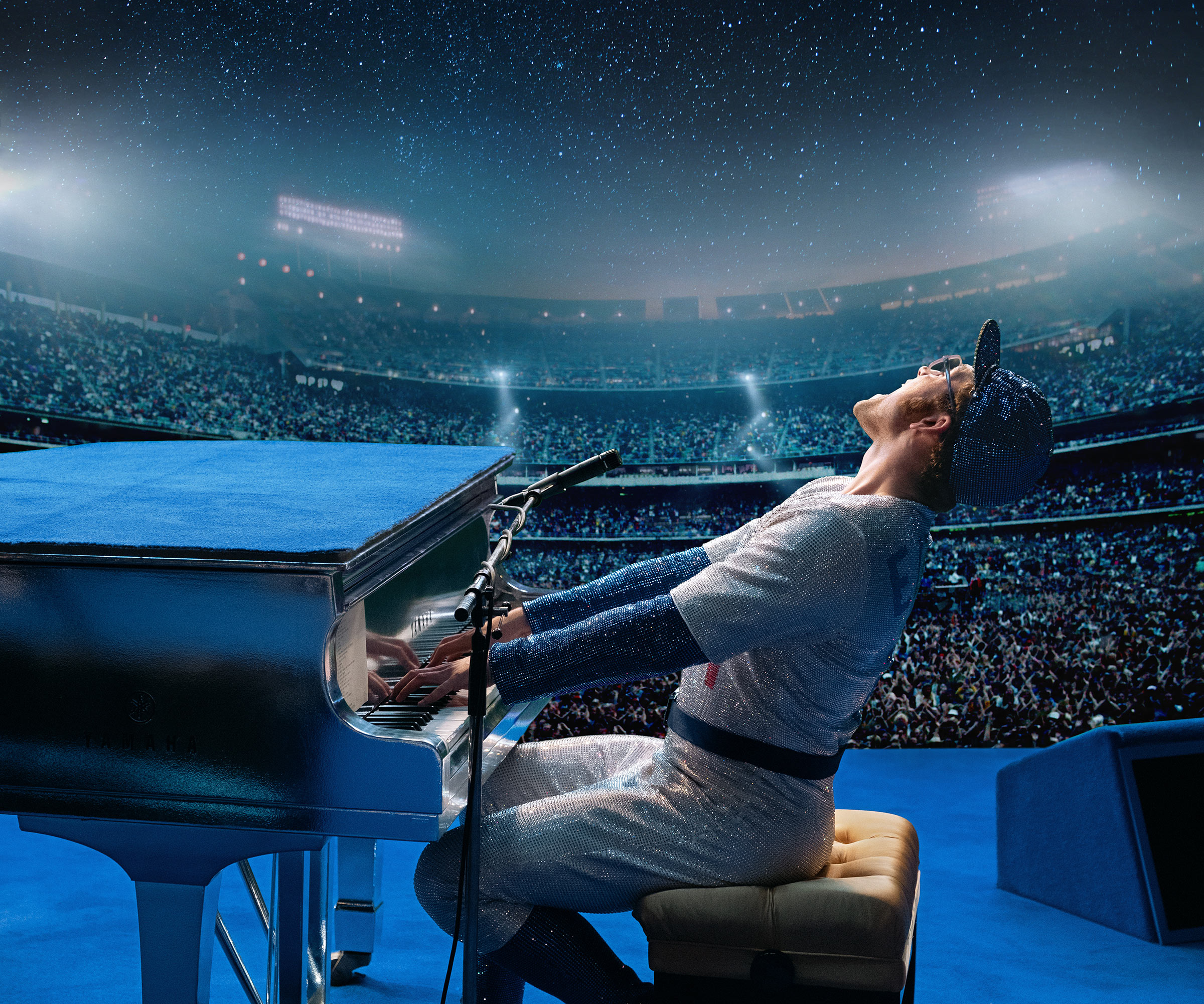 Taron Egerton performs as Elton John in Rocketman.