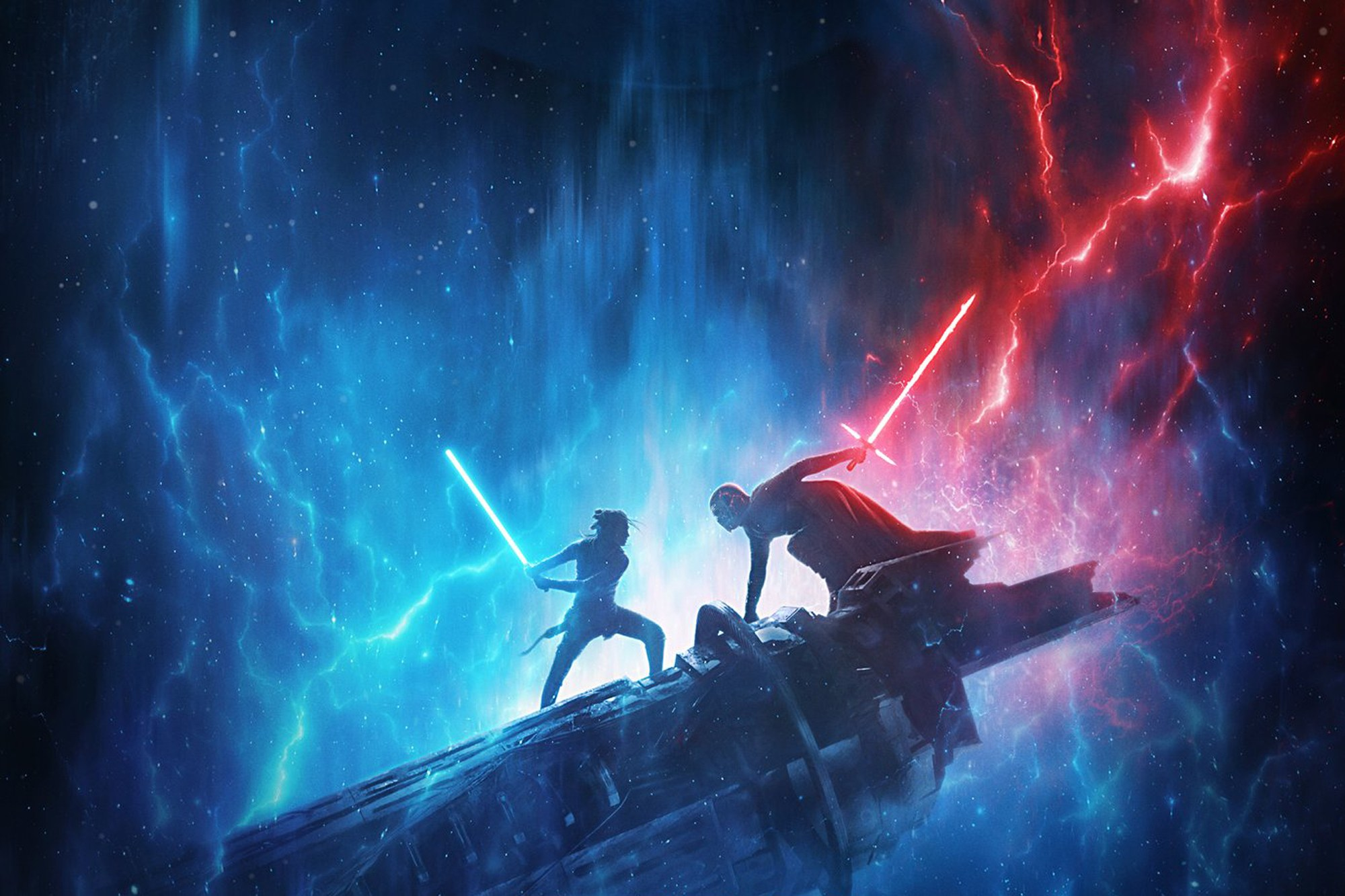 Rey and Kylo Ren fight in The Rise of Skywalker.