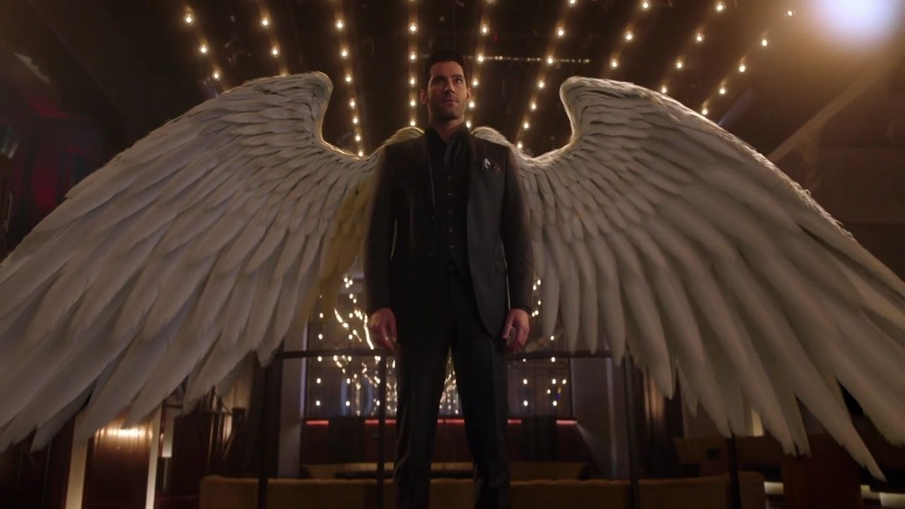 Lucifer Morningstar shows off his angel wings.