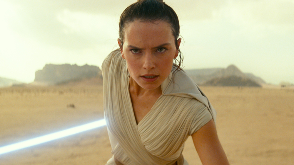 Rey in The Rise of Skywalker, before she learns she is Rey Palpatine.