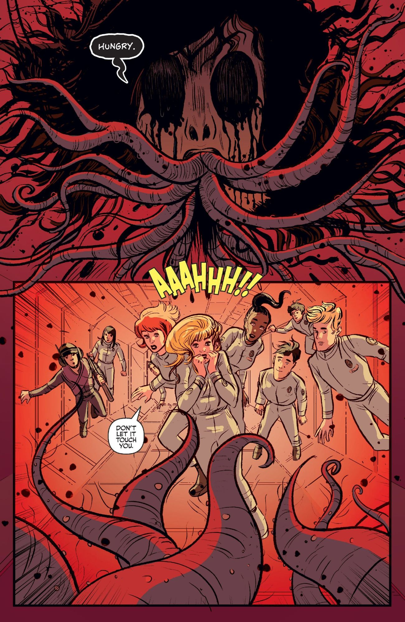 A terrifying encounter with the killer alien in Josie and the Pussycats in Space #3.