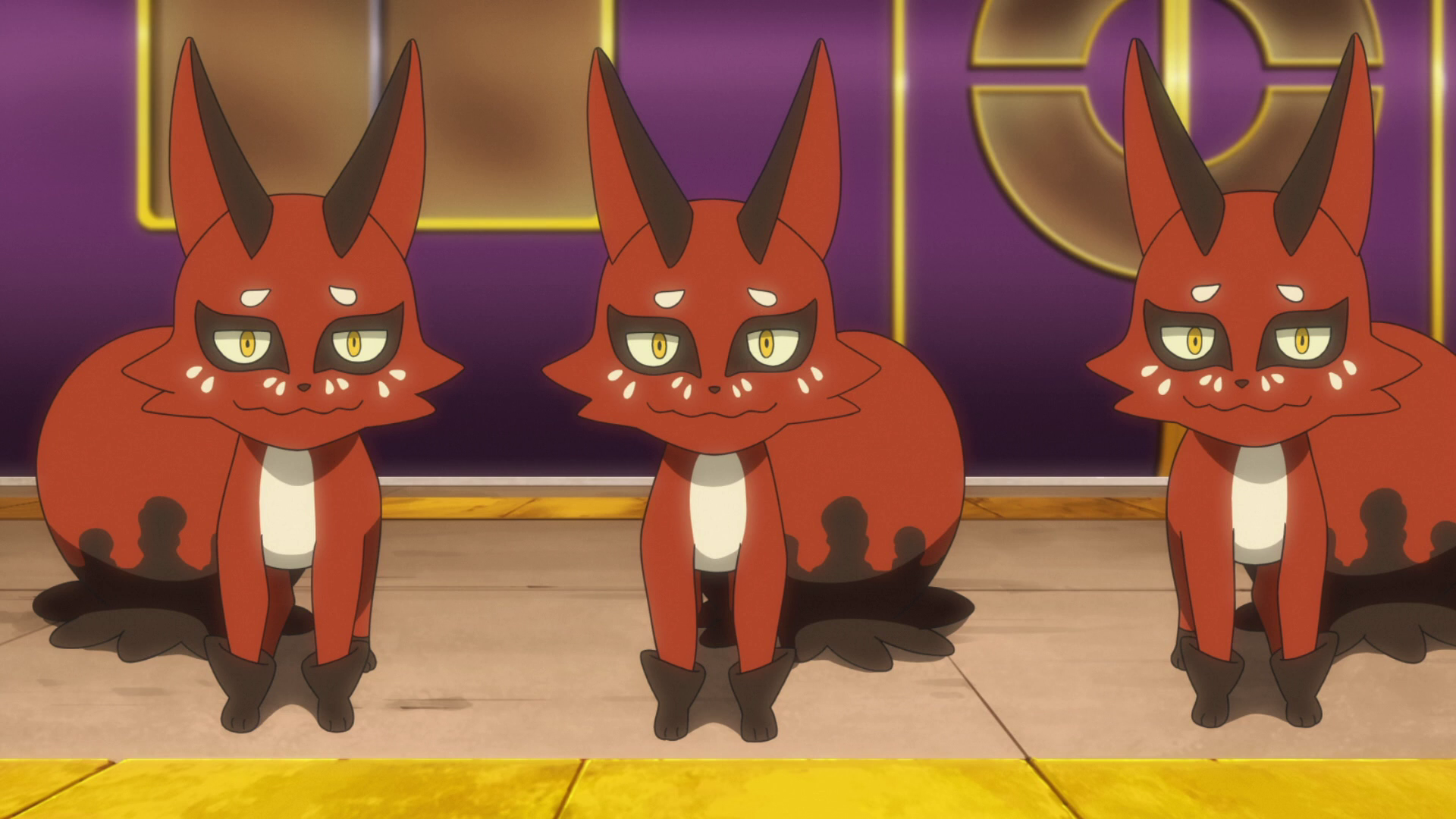 A trio of the fox pokemon Nickit.