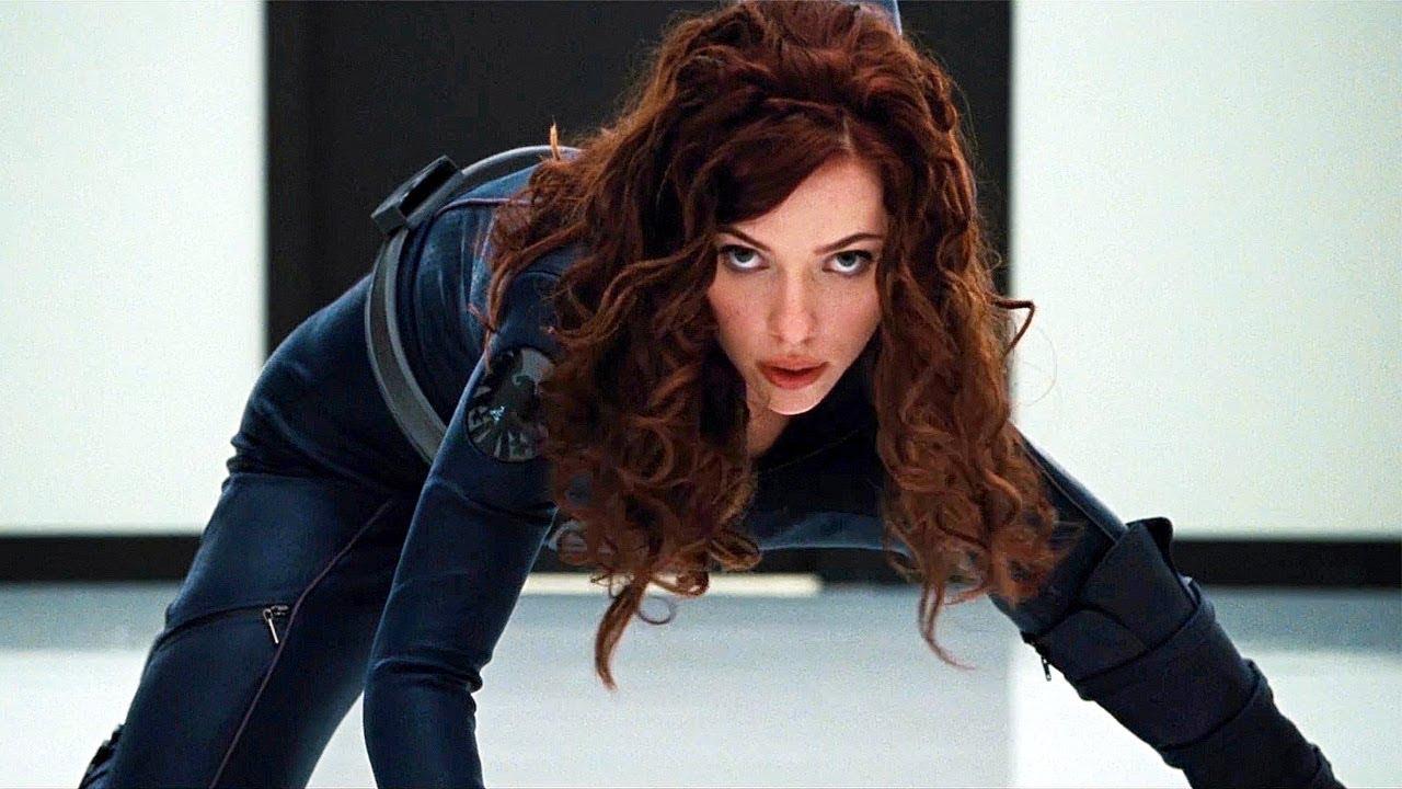 Marvel Hero, Natasha Romanoff, in her famous stance from Iron Man 2