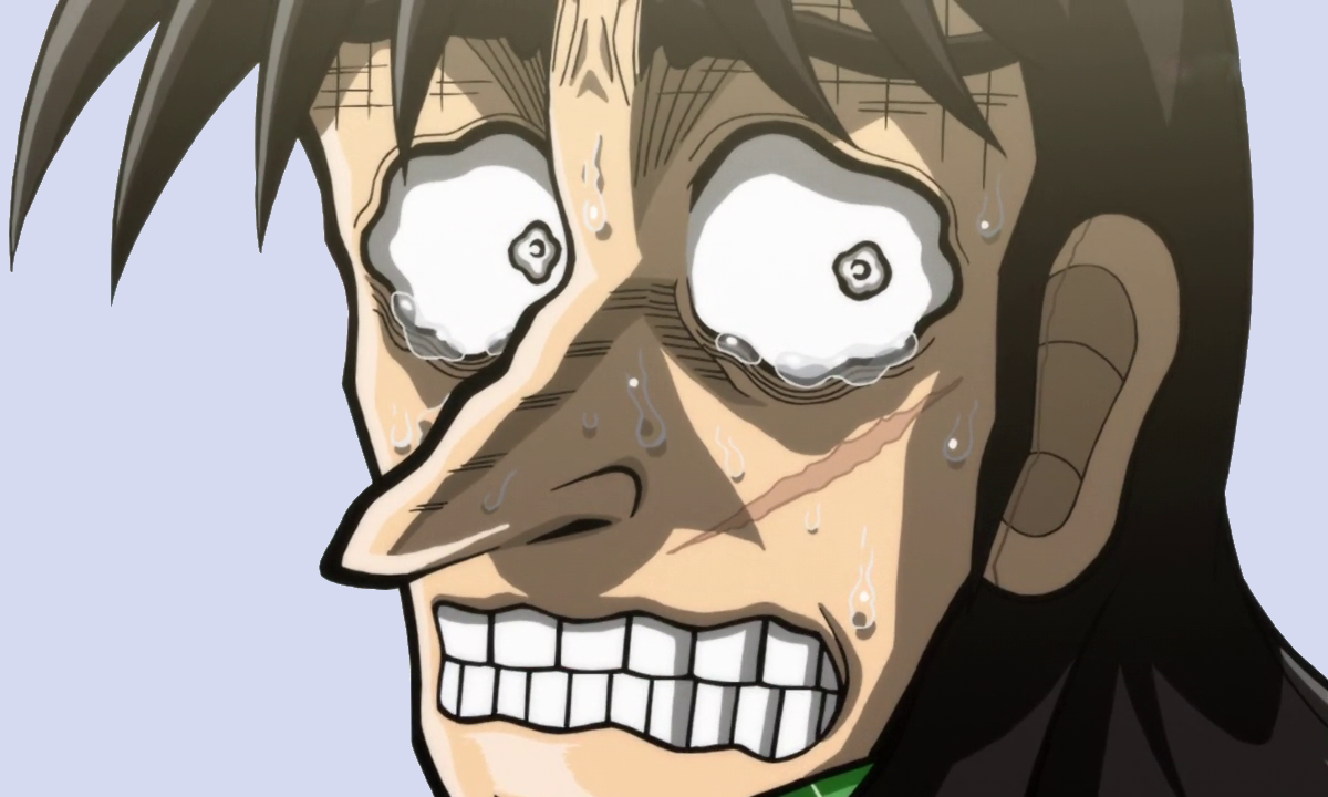 Close up of Kaiji with a distorted, wobbly outline to show anxiety.