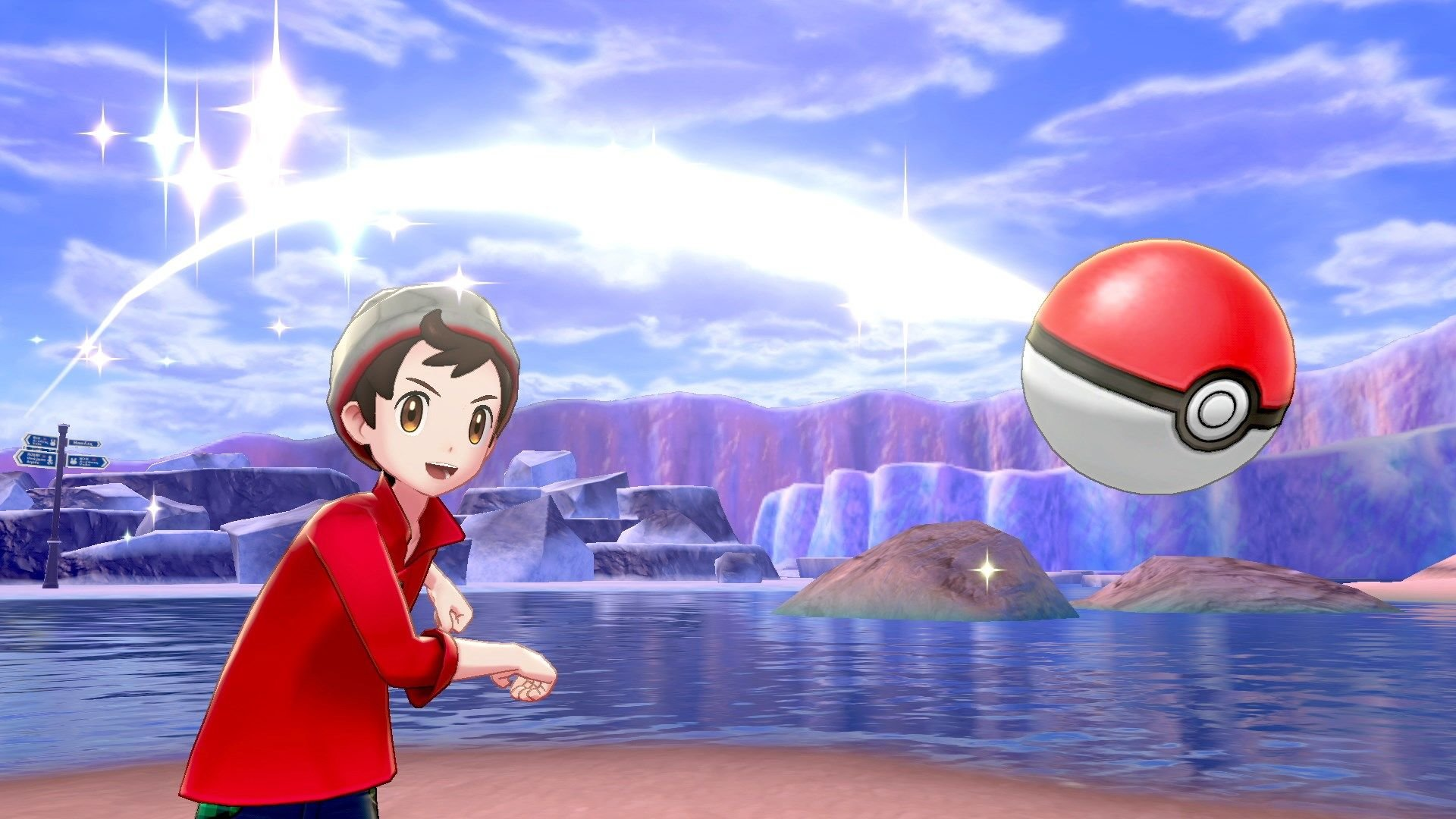 Main character of pokemon sword and shield throwing a pokeball.