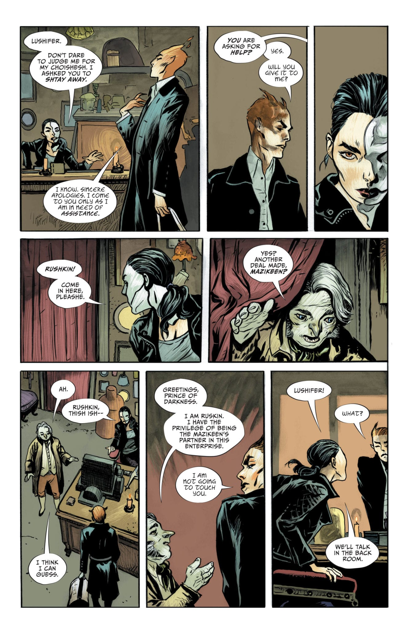 Lucifer #16, Page #6; Lucifer speaks to Mazikeen