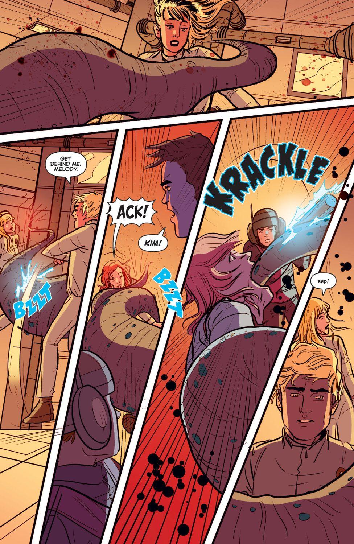 The killer alien attacks the crew and possesses a crew member.