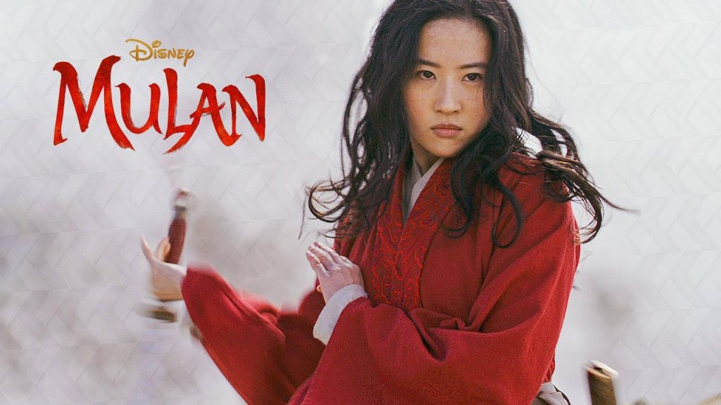 Mulan assuming a fighting stance. A contrast in the cinematic era from animated film to a live-action one.