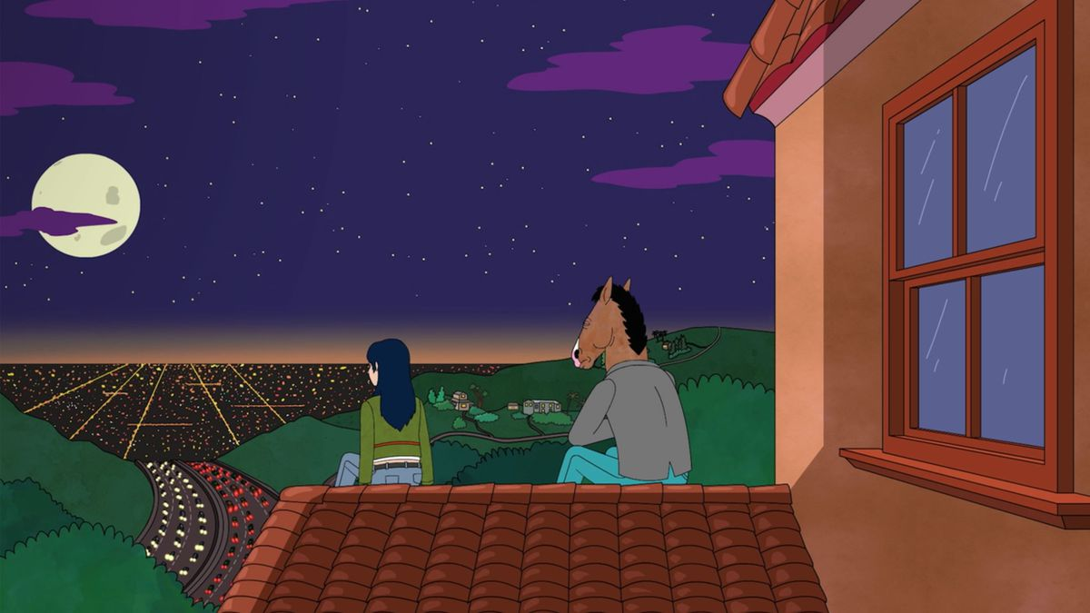 Diane and Bojack sitting on a rooftop looking at the LA cityscape at night.