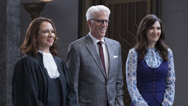 The Good Place's Gen, Michael, and Janet.