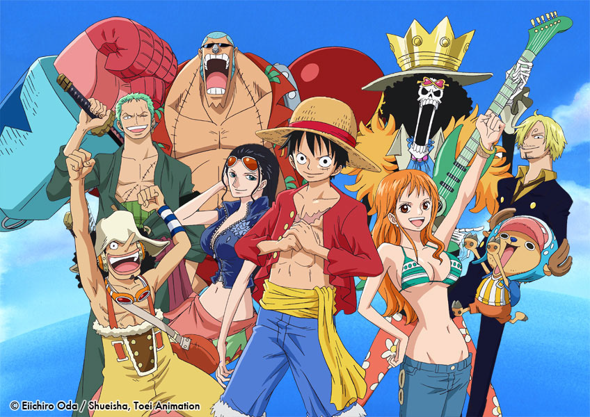 Anime group of  pirates smiling and posing