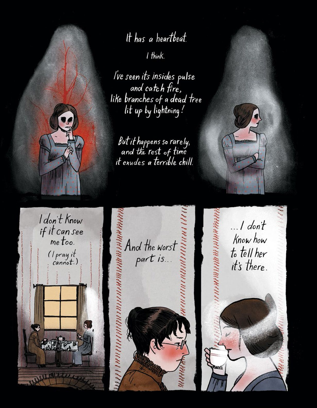 Page from Through The Woods depicting the narrator, Yvonne, observing a ghostly presence haunting her friend Janna.