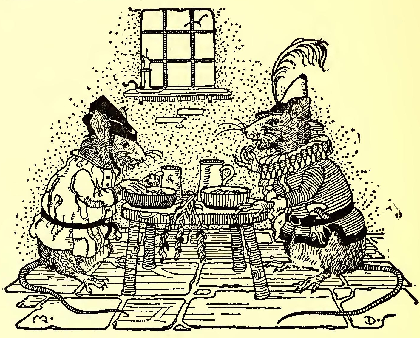 Two rats sitting together and having dinner.