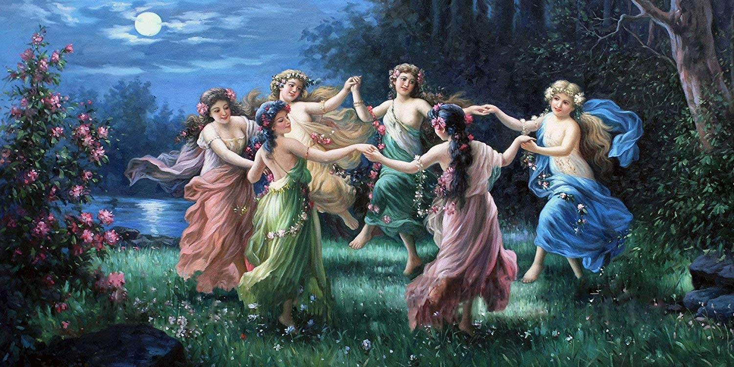 Fairies dancing much like the Spanish fable The Woodsman and the Fairies.