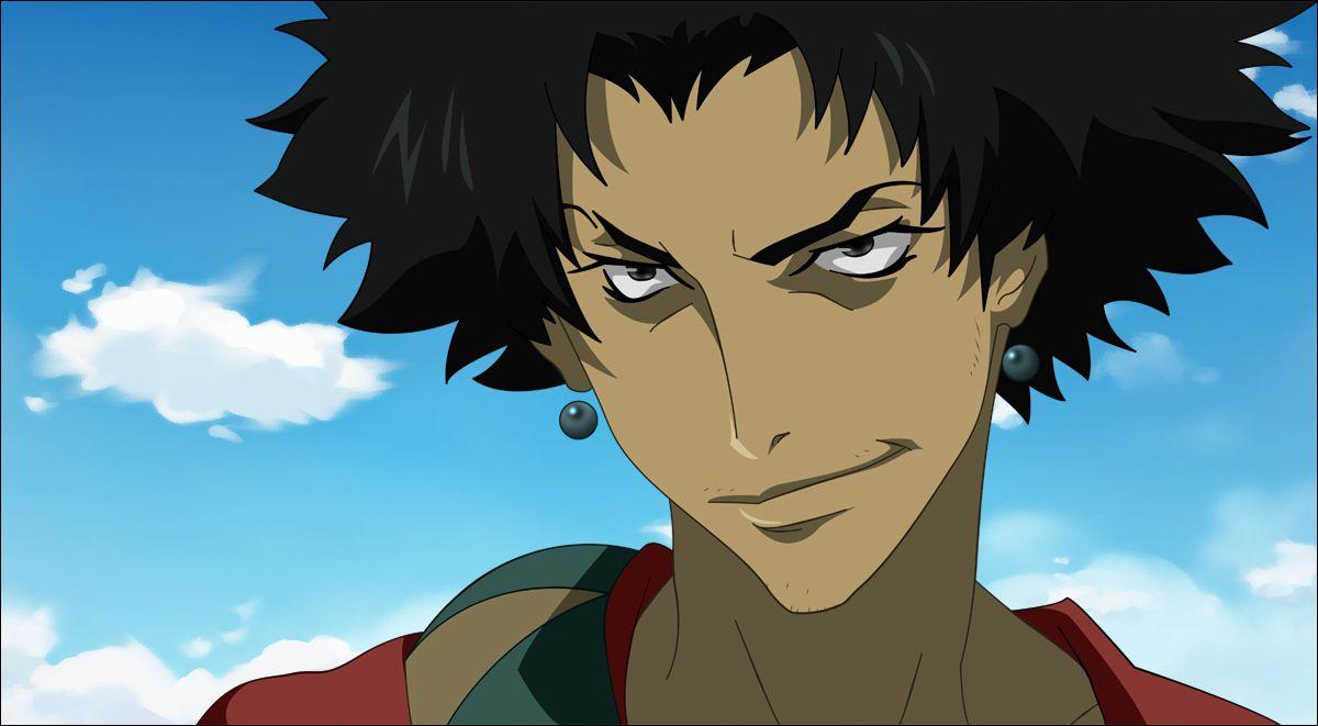 The black anime character Mugen smirking slyly.