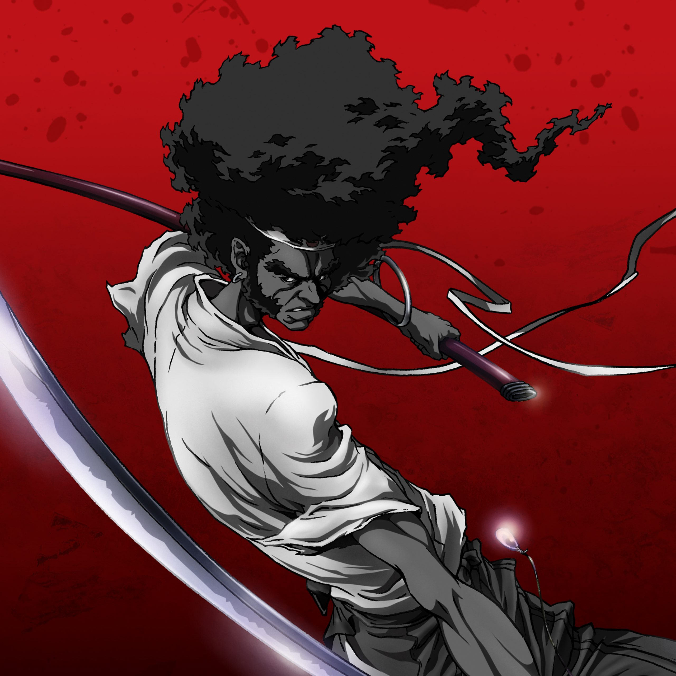 Afro swinging his sword as his Afro flows behind him.